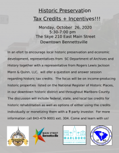 Historic Preservation Tax Credits & Incentives Workshop @ The Skye